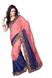 Indian Designer Pink violete Chiffon Embroidered Party Saree