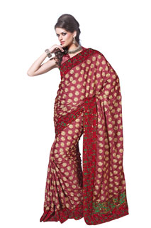 Party wear MaroonCrepe jaquard Zari Work Embroidered Saree