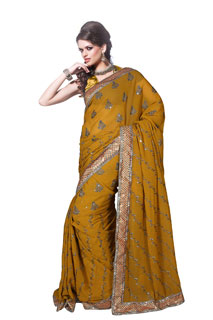 Dark Yellow Sequince Work Embroidered Georgette Saree