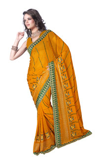 Indian Designer Yellow Yarn Work Embroidered Bollywood Sari