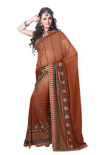 Brown Yarn and Sequins Work Embroidered Fancy Saree
