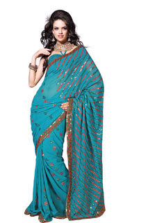 Bollywood Sari Rama Color Sequins Work Embroidered Saree