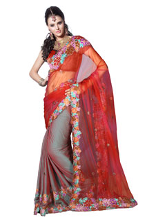 Indian Bollywood Red Embroidered Net Patli pallu Saree