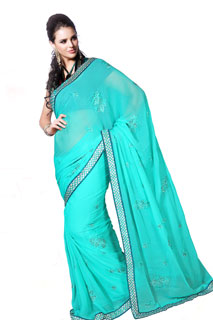 Party Wear Blue Tone Work Yarn Work Embroidered Saree