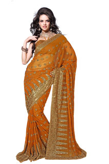 Dark Yellow Embroidered Georgette Sequins And Zari Work Saree