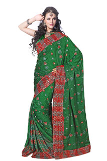 Green Sequins Work Embroidered Crepe Jaquard Party Saree