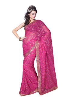 Festival Wear Georgette Pink Sequins Work Embroidery Saree