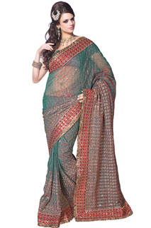 Fashion Wear Fancy Look Grey Sequins work embroidery Saree