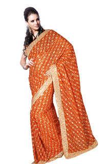 Orange Georgette Sequins and Zari work embroidery Fancy Saree
