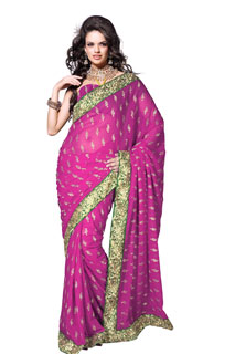 Pink Stylish  Zari work Georgette Embroidery Boota work Saree