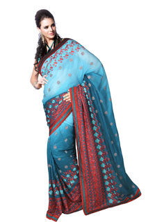 Light and Darl Blue Fullnet Embroidery Bollywood Saree
