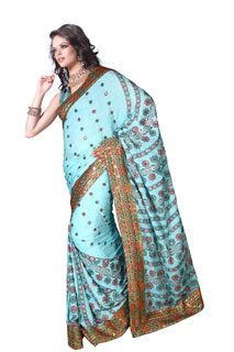 bollywood wear Blue Crepe Jaquard Yarn Work Embroidery Saree