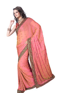 Party Wear Two Tone Shaded Zari Work Embroidered Fancy Saree