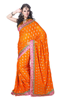 Ethnic Wear Orange Georgette Zari Work embroidered Saree