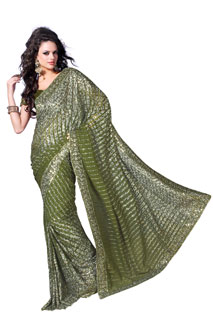 Mehendi Sequins Work and Zari Work Embroidered saree