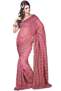 Pink All Over Sequins Work Full Net embroidered Saree