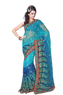 Blue All Over embroidery Work Full Net Fancy Saree