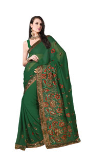 Green Georgette simple Embroidery and zari And Sequins Work Saree