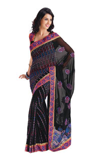 Black Yarn Work Embroidered Fancy Net Saree
