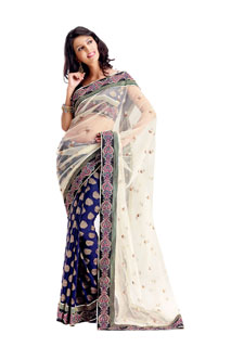 Amazing Fancy Designer Embroidered Net Pallu Saree