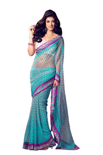 Bollywood Designer Fancy Look New Style Embroidered Net Saree
