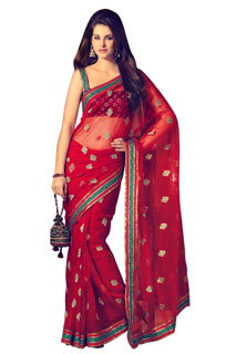Indian Bollywood Designer Wedding Red Net Saree