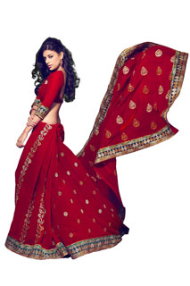 Festival Designer Fancy Full Net Embroidered Red Saree