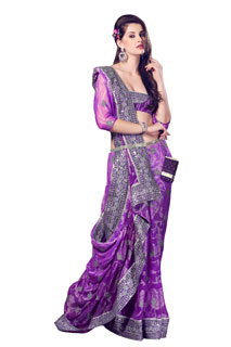 Party Wear Fancy New Style Violet Color Net Brasso Saree