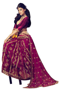 New Style Bollywood Magenta Color Full Net Saree