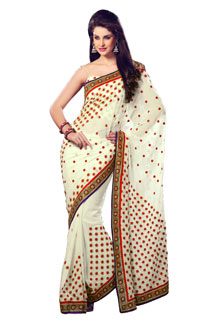 Indian Boolywood Designer Fancy Cream color Embroidered Sari