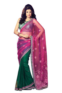 Indian Bollywood Designer Embroidered Net Patli Pallu Sari