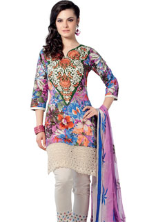 Lovely Designer Horizontal Embroidered Suit