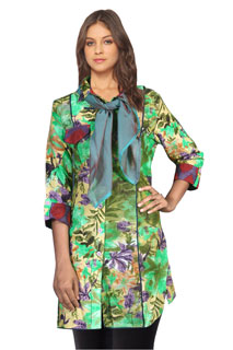 Charming Green Floral Print Designer CottonTunic