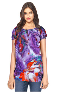 Charming Violet Color Combination Cotton Printed Tunic