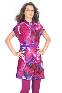 Designer Pink Color Abstract Floral Printed  Tunic